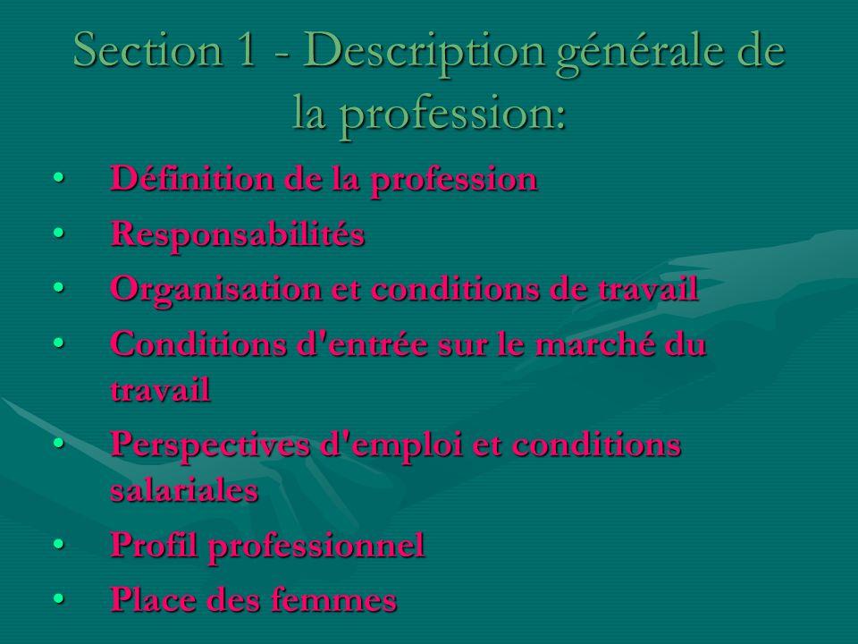 Section 1 - Description générale de la profession: Définition de la professionDéfinition de la profession ResponsabilitésResponsabilités Organisation