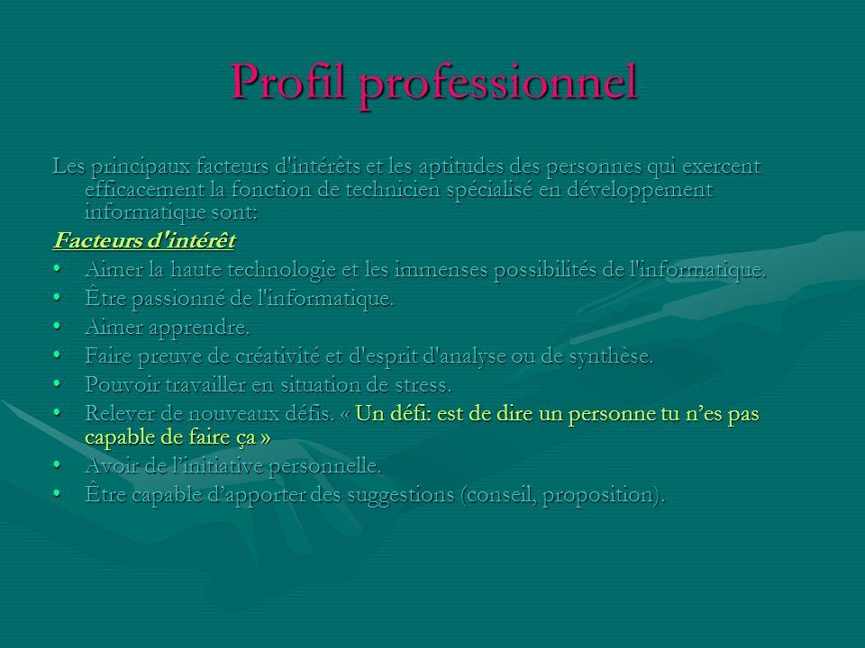 Profil professionnel Les principaux facteurs d'intérêts et les aptitudes des personnes qui exercent efficacement la fonction de technicien spécialisé