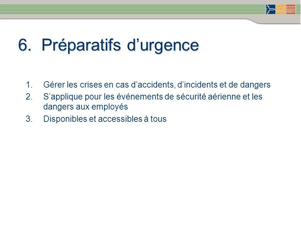 6. Préparatifs durgence Gérer les crises en cas daccidents, dincidents et de dangers Sapplique pour les événements de sécurité aérienne et les dangers