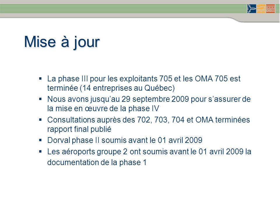 Mise à jour La phase III pour les exploitants 705 et les OMA 705 est terminée (14 entreprises au Québec) Nous avons jusquau 29 septembre 2009 pour sas