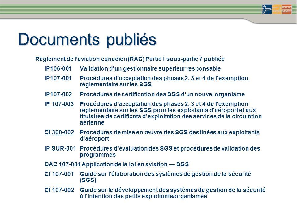 Documents publiés Règlement de laviation canadien (RAC) Partie I sous-partie 7 publiée IP106-001 Validation d'un gestionnaire supérieur responsable IP