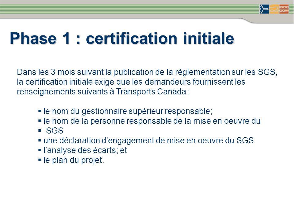 Dans les 3 mois suivant la publication de la réglementation sur les SGS, la certification initiale exige que les demandeurs fournissent les renseignem