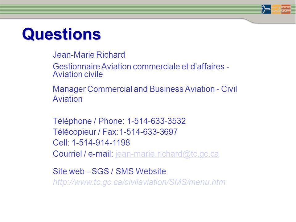 Jean-Marie Richard Gestionnaire Aviation commerciale et daffaires - Aviation civile Manager Commercial and Business Aviation - Civil Aviation Téléphon