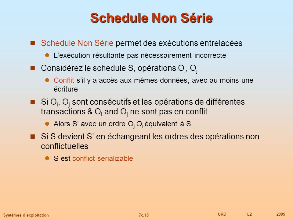 7c.10 URDL22005 Systèmes dexploitation Schedule Non Série Schedule Non Série permet des exécutions entrelacées Lexécution résultante pas nécessairemen