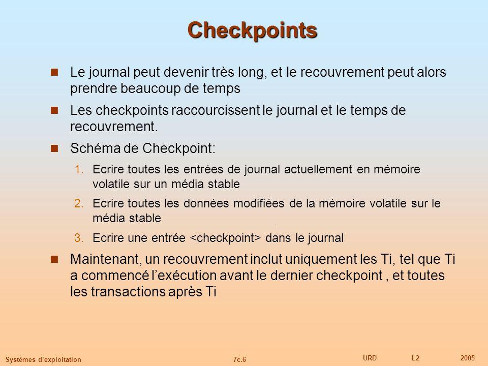 7c.6 URDL22005 Systèmes dexploitation Checkpoints Le journal peut devenir très long, et le recouvrement peut alors prendre beaucoup de temps Les check