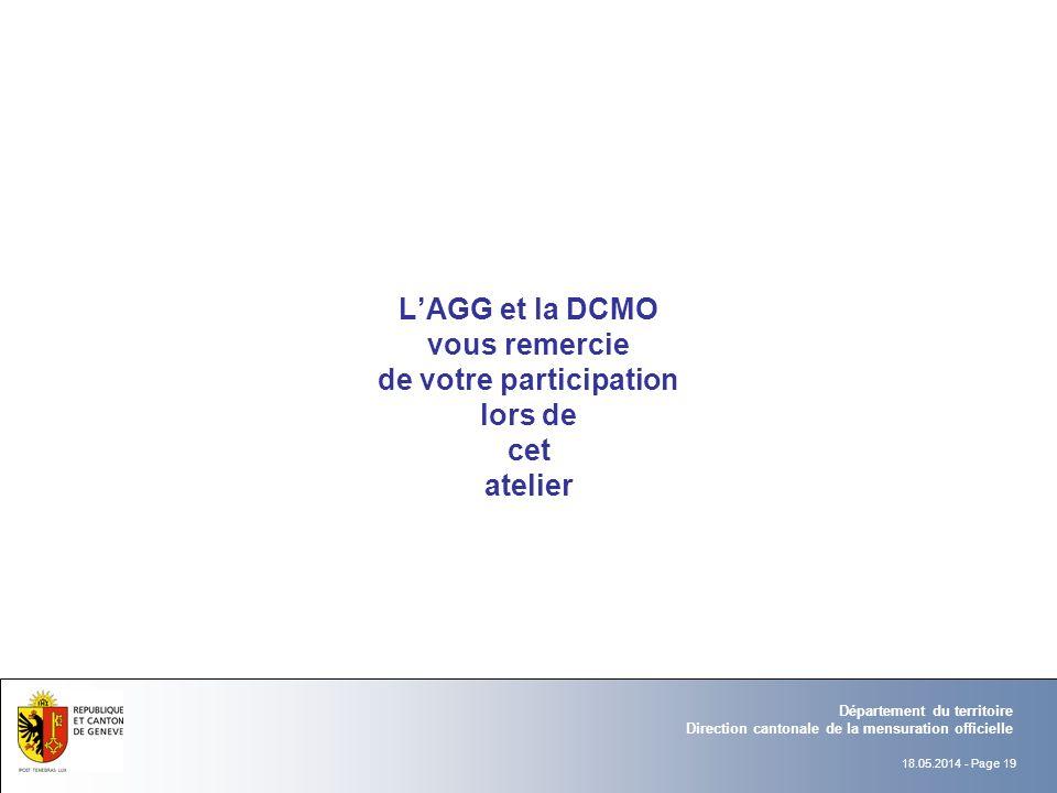 18.05.2014 - Page 19 Département du territoire Direction cantonale de la mensuration officielle LAGG et la DCMO vous remercie de votre participation lors de cet atelier