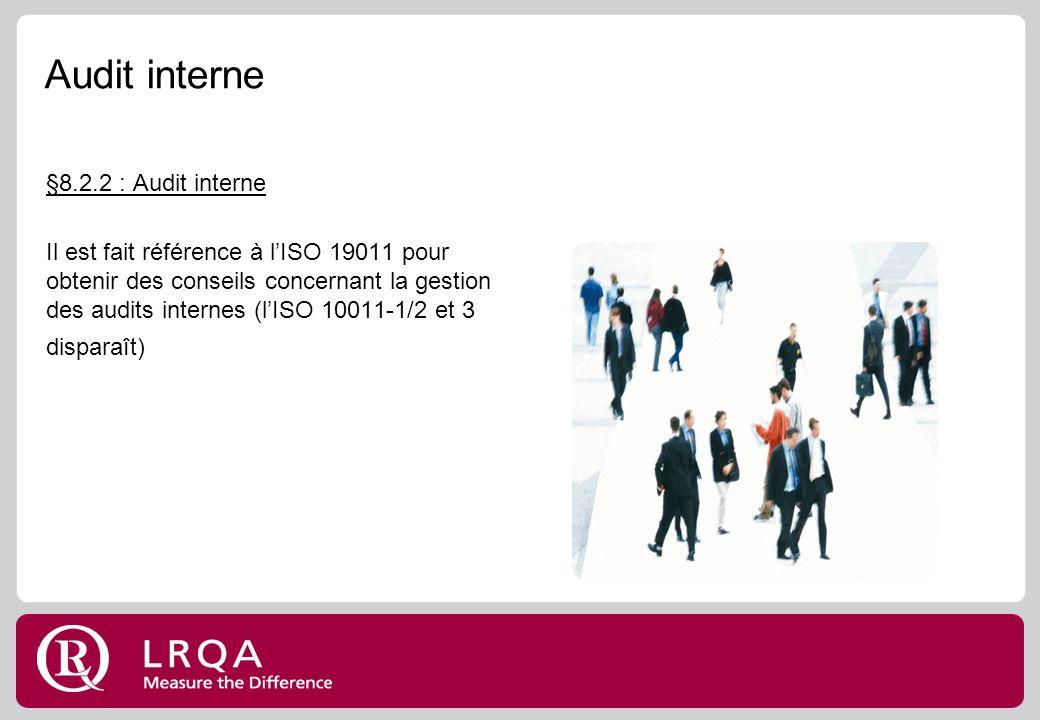 Audit interne §8.2.2 : Audit interne Il est fait référence à lISO 19011 pour obtenir des conseils concernant la gestion des audits internes (lISO 10011-1/2 et 3 disparaît)