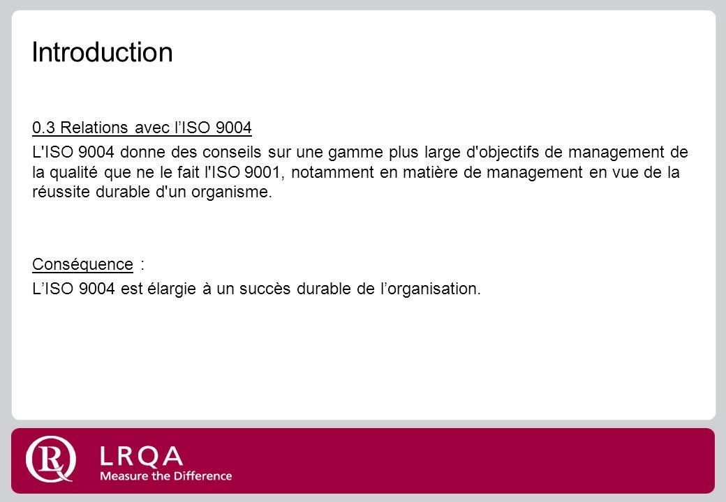 Introduction 0.3 Relations avec lISO 9004 L ISO 9004 donne des conseils sur une gamme plus large d objectifs de management de la qualité que ne le fait l ISO 9001, notamment en matière de management en vue de la réussite durable d un organisme.
