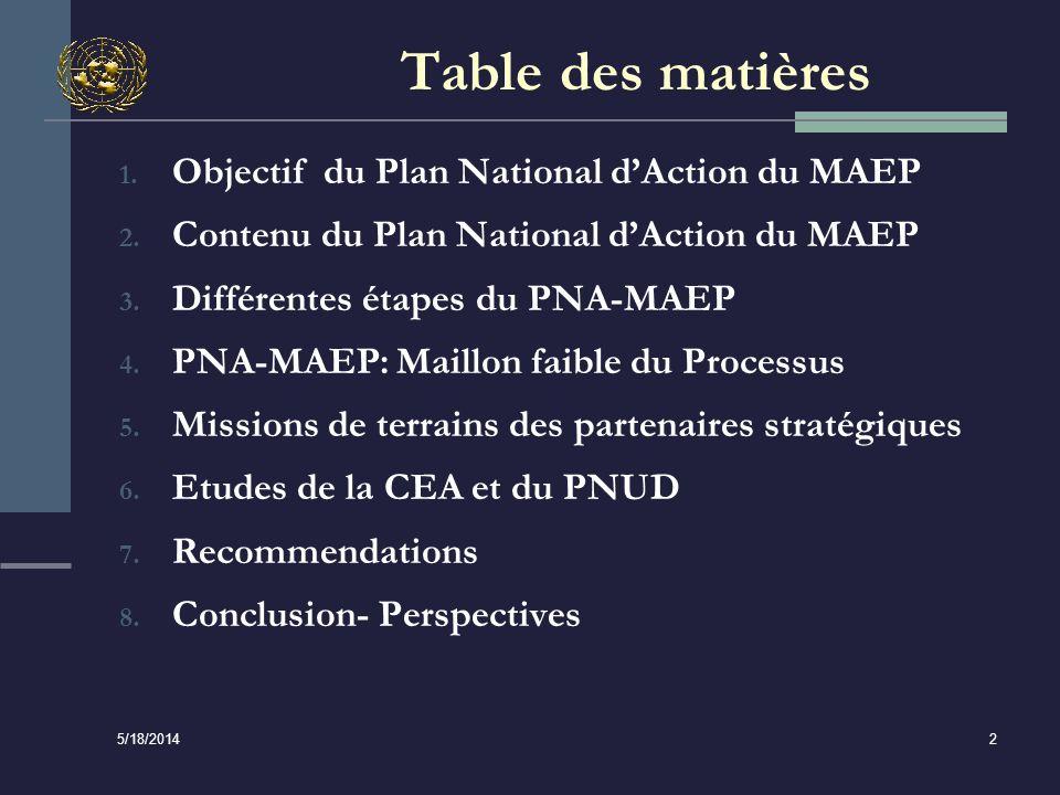 5/18/2014 13 Recommandations (suite 1) Harmonisation du PAN avec les autres plans Il faudrait synchroniser les cycles du PAN et des documents de stratégie (DSRP) afin dassurer une utilisation optimale des ressources humaines et financières; Lorganisme national de planification et la CNG devraient intégrer le PAN au programme national de développement par le biais des plans stratégiques sectoriels; Il faut codifier les activités du PAN dans le cadre de dépenses à moyen terme pour faciliter le suivi des dépenses et lévaluation de lexécution; et Le PAN devrait mettre davantage laccent sur la gouvernance et ne pas se transformer en un programme dinvestissement.