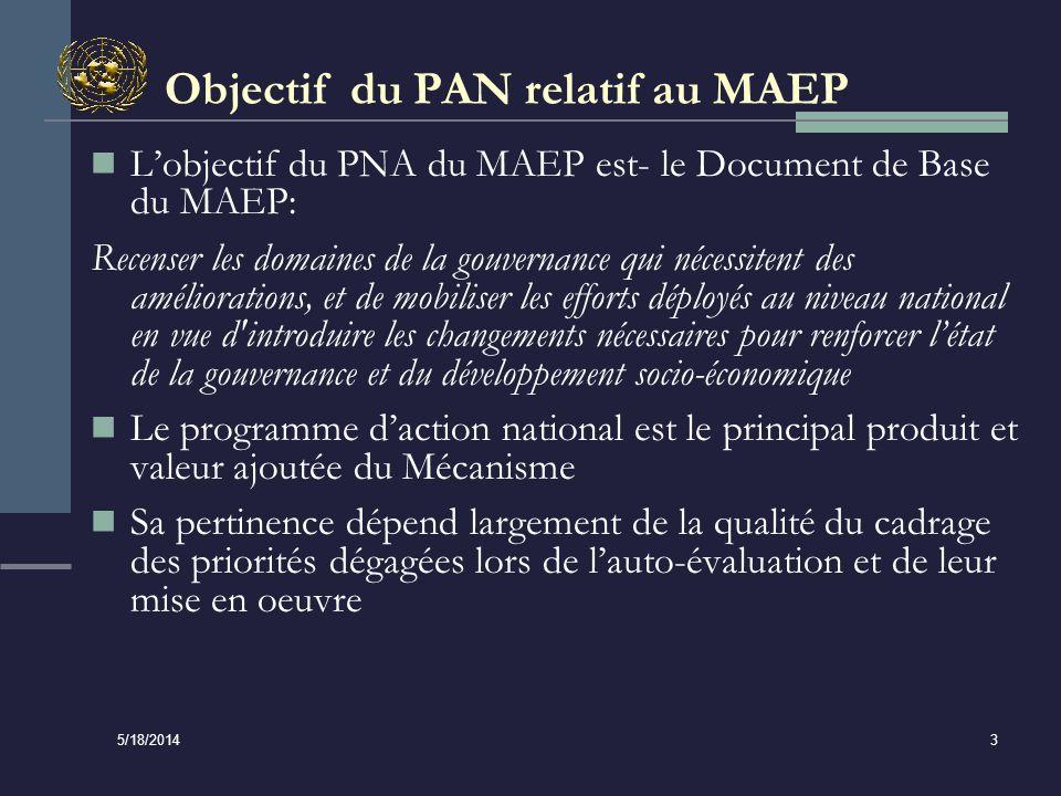 5/18/2014 3 Objectif du PAN relatif au MAEP Lobjectif du PNA du MAEP est- le Document de Base du MAEP: Recenser les domaines de la gouvernance qui nécessitent des améliorations, et de mobiliser les efforts déployés au niveau national en vue d introduire les changements nécessaires pour renforcer létat de la gouvernance et du développement socio-économique Le programme daction national est le principal produit et valeur ajoutée du Mécanisme Sa pertinence dépend largement de la qualité du cadrage des priorités dégagées lors de lauto-évaluation et de leur mise en oeuvre