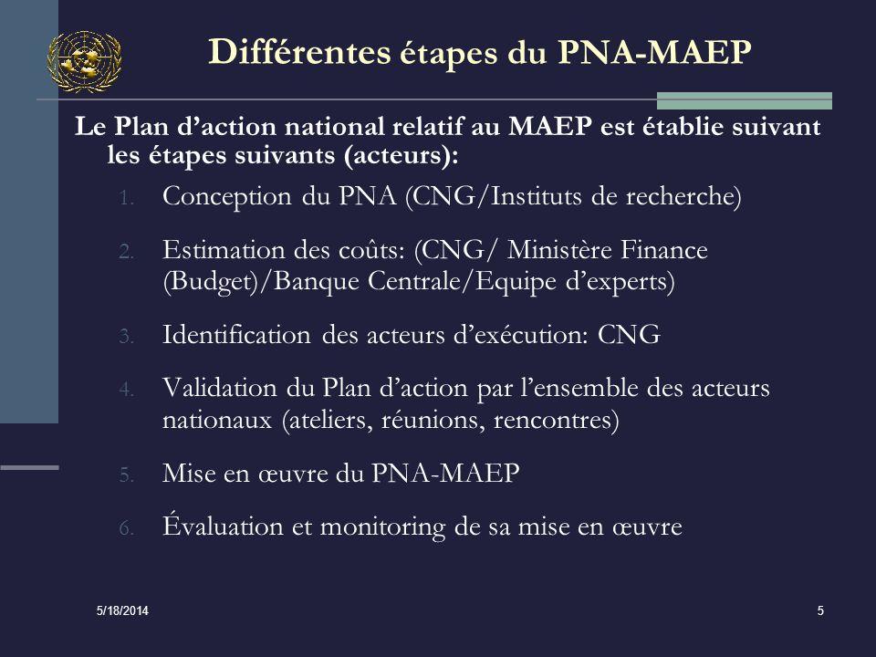 5/18/2014 5 Différentes étapes du PNA-MAEP Le Plan daction national relatif au MAEP est établie suivant les étapes suivants (acteurs): 1.