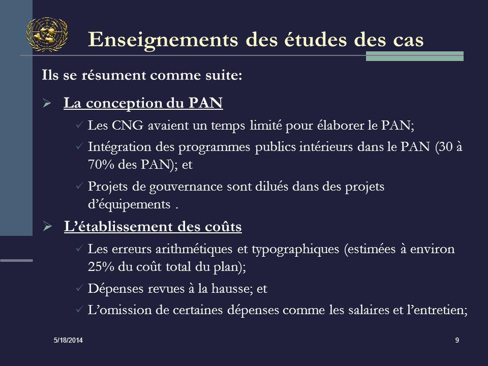 5/18/2014 9 Enseignements des études des cas Ils se résument comme suite: La conception du PAN Les CNG avaient un temps limité pour élaborer le PAN; Intégration des programmes publics intérieurs dans le PAN (30 à 70% des PAN); et Projets de gouvernance sont dilués dans des projets déquipements.