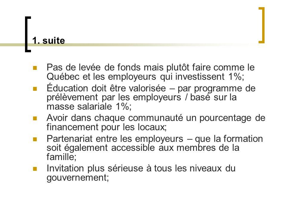 1. suite Pas de levée de fonds mais plutôt faire comme le Québec et les employeurs qui investissent 1%; Éducation doit être valorisée – par programme