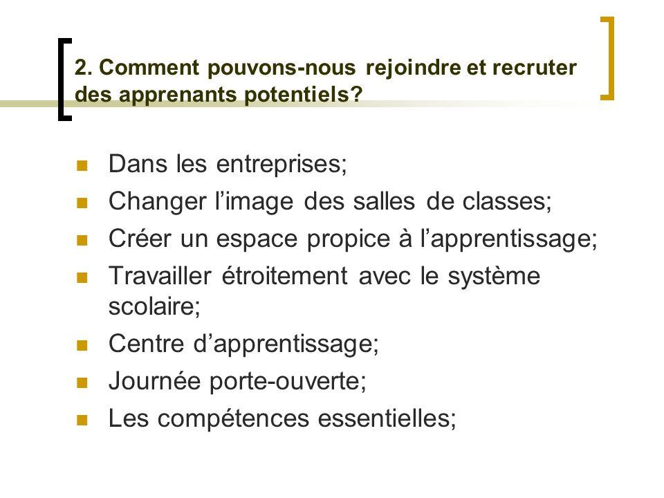 2. Comment pouvons-nous rejoindre et recruter des apprenants potentiels.
