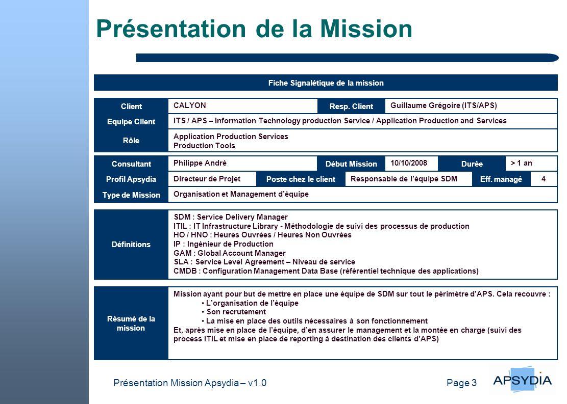 Page 14 Présentation Mission Apsydia – v1.0 Tutorial Présentation de la mission Renseigner le nom du client et le nom du responsable de mission Renseigner le nom du consultant la date de début de mission et la durée (voir ci-dessous) Durée : 1 mois, 3 mois, 6 mois, > 1an, > 2 ans Résumé de la mission : libellé « long » de la mission dans le but den donner une vision synthétique Objectifs attendus par le client : donner lensemble des objectifs fixés par le client dans le cadre de la mission Interlocuteurs : préciser les différents interlocuteurs avec lesquels le consultant est en contact durant la mission (MOA, AMOA, Utilisateurs, équipes MOE, équipes de production informatique, sous-traitants, …) Progiciels utilisés : préciser les progiciels utilisés durant la mission (SOPHIS, Murex, Calypso, Decalog, …) mais aussi les outils spécifiques (EXCEL, VBA, ACCESS, SQL,...) Compléments dinformations : autres informations utiles pour comprendre le contexte et les enjeux de la mission DUREE : 10 minutes Actions mises en œuvre Donner un macro planning visuel des différentes phases de la mission (ne surtout pas rentrer dans les détails Gouvernance : Donner toutes les actions de gouvernance mises en œuvre durant la mission pour répondre aux attentes du client (réunions hebdo, COPIL, …) – détailler, à loral, les participants et les ordres du jour type Synthèse des gains attendus : donner une vision macro des gains attendu par le client dans le cadre de la mission (réduction de coût, évolution réglementaire, optimisation de lorganisation, amélioration de la qualité, …) Difficultés rencontrées : donner les difficultés rencontrées durant la mission en les moyens mis en œuvre pour les contourner DUREE : 10 minutes Focus On … Préparer un exposé qui explique un sujet précis traité durant la mission – lobjectif de cette partie est de donner aux collaborateurs Apsydia une culture générale sur le sujet présenté DUREE : 25 minutes Questions / Réponses DUREE : 15 minutes