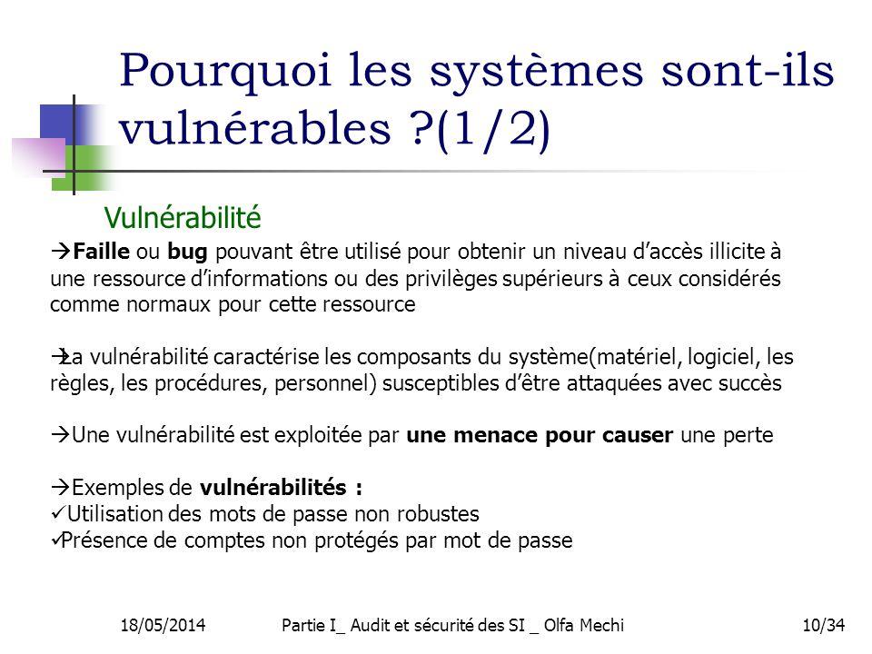 18/05/2014Partie I_ Audit et sécurité des SI _ Olfa Mechi10/34 Pourquoi les systèmes sont-ils vulnérables ?(1/2) Faille ou bug pouvant être utilisé pour obtenir un niveau daccès illicite à une ressource dinformations ou des privilèges supérieurs à ceux considérés comme normaux pour cette ressource La vulnérabilité caractérise les composants du système(matériel, logiciel, les règles, les procédures, personnel) susceptibles dêtre attaquées avec succès Une vulnérabilité est exploitée par une menace pour causer une perte Exemples de vulnérabilités : Utilisation des mots de passe non robustes Présence de comptes non protégés par mot de passe Vulnérabilité