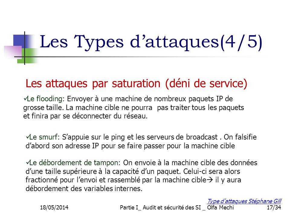 17/34 Les attaques par saturation (déni de service) Les Types dattaques(4/5) Le flooding: Envoyer à une machine de nombreux paquets IP de grosse taill