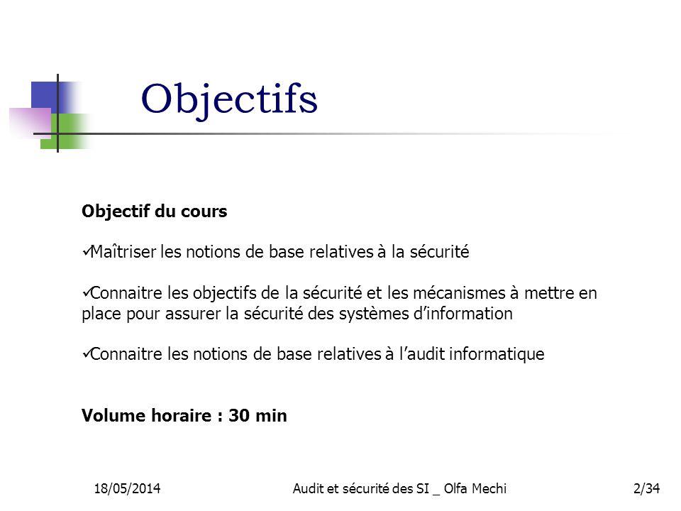18/05/2014Audit et sécurité des SI _ Olfa Mechi2/34 Objectif du cours Maîtriser les notions de base relatives à la sécurité Connaitre les objectifs de