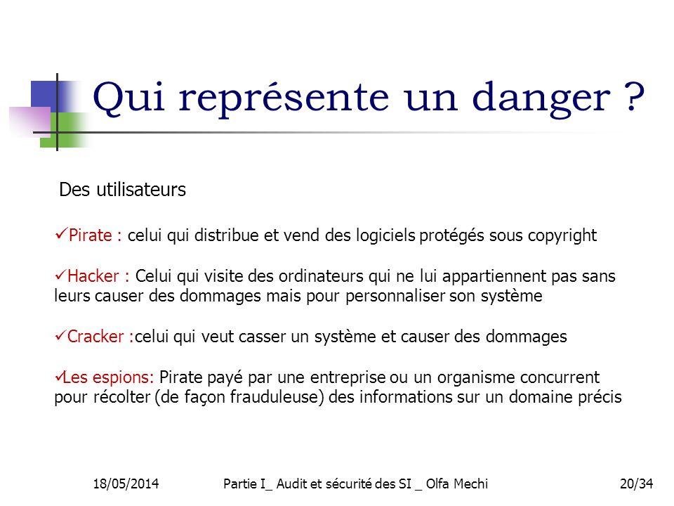 Qui représente un danger ? 20/34 Des utilisateurs Pirate : celui qui distribue et vend des logiciels protégés sous copyright Hacker : Celui qui visite