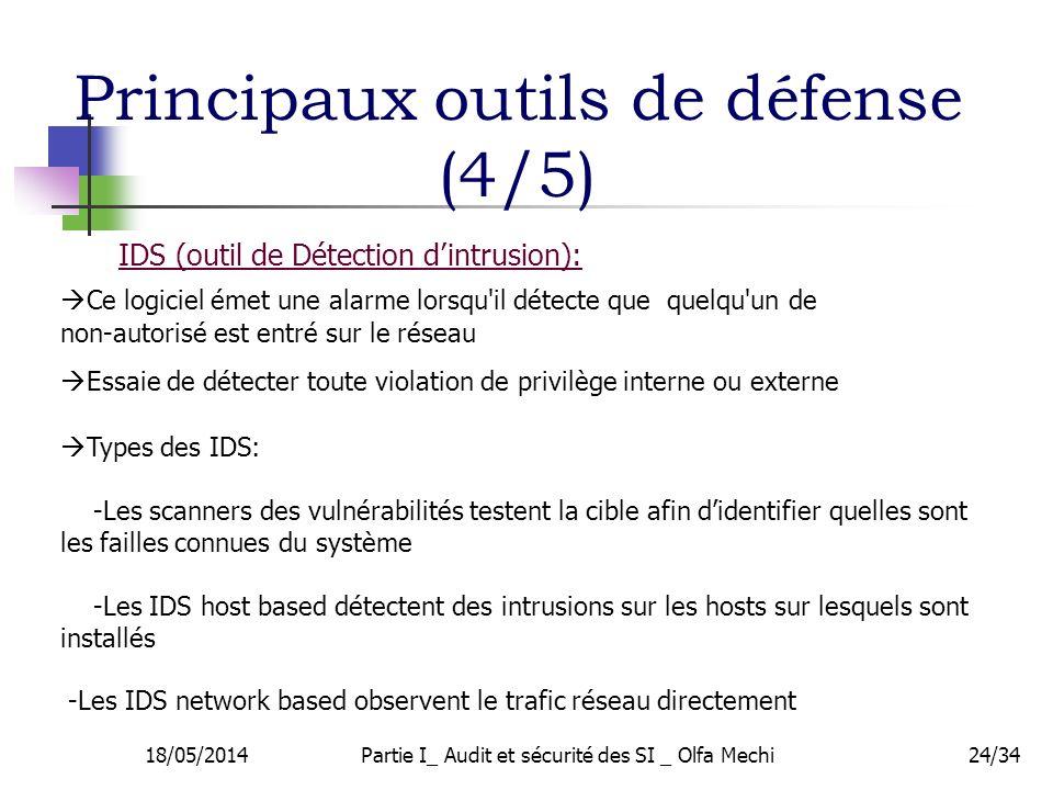 18/05/2014Partie I_ Audit et sécurité des SI _ Olfa Mechi24/34 IDS (outil de Détection dintrusion): Essaie de détecter toute violation de privilège interne ou externe Types des IDS: -Les scanners des vulnérabilités testent la cible afin didentifier quelles sont les failles connues du système -Les IDS host based détectent des intrusions sur les hosts sur lesquels sont installés -Les IDS network based observent le trafic réseau directement Ce logiciel émet une alarme lorsqu il détecte que quelqu un de non-autorisé est entré sur le réseau Principaux outils de défense (4/5)