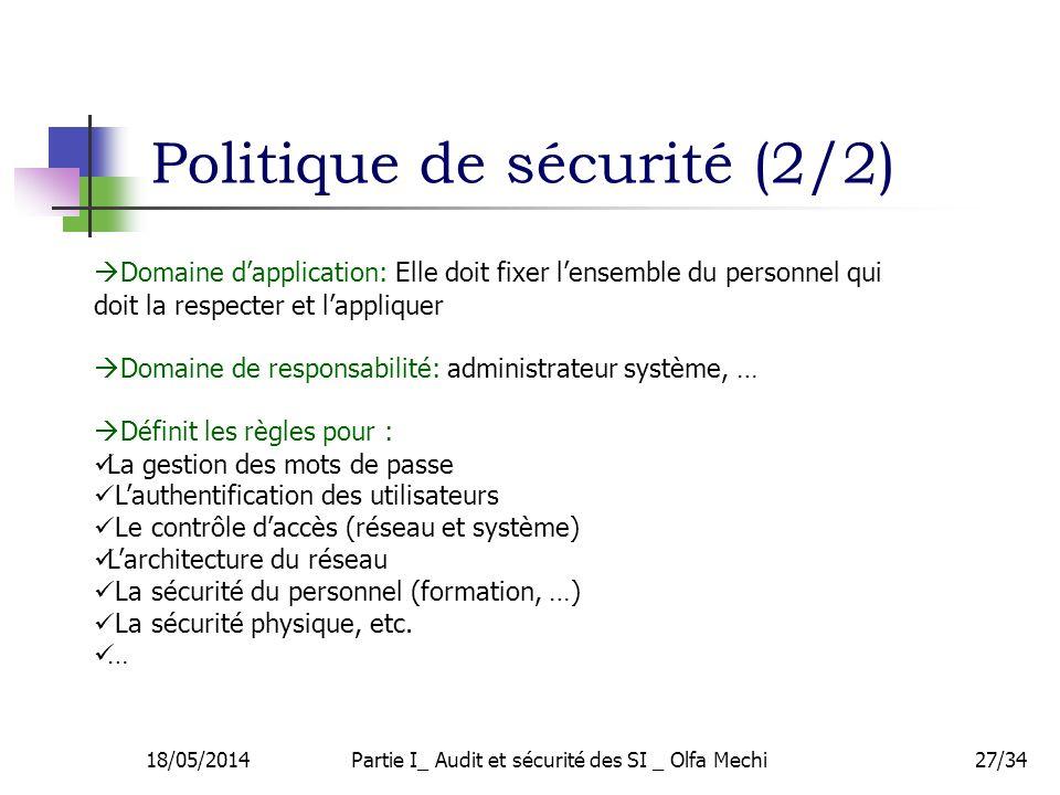 18/05/2014Partie I_ Audit et sécurité des SI _ Olfa Mechi27/34 Domaine dapplication: Elle doit fixer lensemble du personnel qui doit la respecter et l