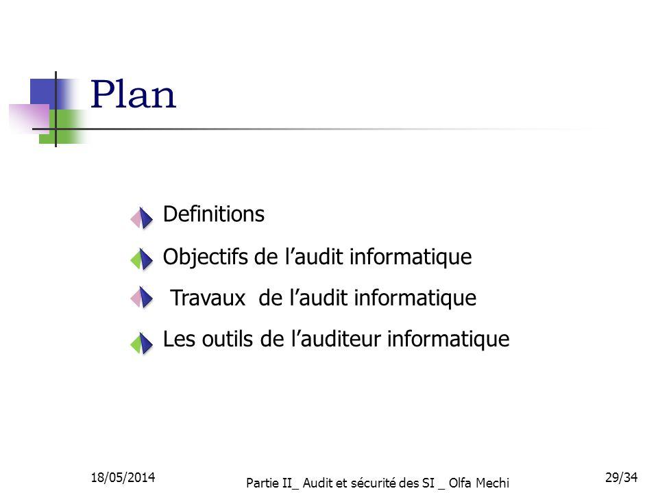 Definitions Objectifs de laudit informatique Travaux de laudit informatique Les outils de lauditeur informatique Plan 18/05/201429/34 Partie II_ Audit et sécurité des SI _ Olfa Mechi