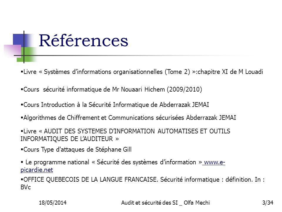 Références 18/05/2014Audit et sécurité des SI _ Olfa Mechi3/34 Cours Type d'attaques de Stéphane Gill Algorithmes de Chiffrement et Communications séc