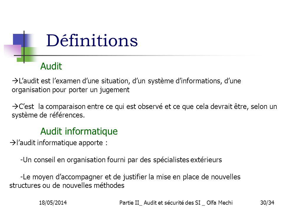 Définitions 18/05/2014Partie II_ Audit et sécurité des SI _ Olfa Mechi30/34 Laudit est lexamen dune situation, dun système dinformations, dune organisation pour porter un jugement Cest la comparaison entre ce qui est observé et ce que cela devrait être, selon un système de références.