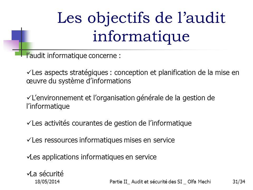 18/05/2014Partie II_ Audit et sécurité des SI _ Olfa Mechi31/34 laudit informatique concerne : Les aspects stratégiques : conception et planification