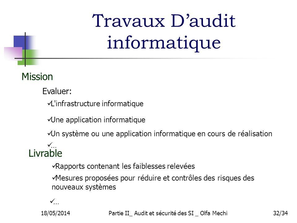 Travaux Daudit informatique 18/05/2014Partie II_ Audit et sécurité des SI _ Olfa Mechi32/34 L'infrastructure informatique Un système ou une applicatio