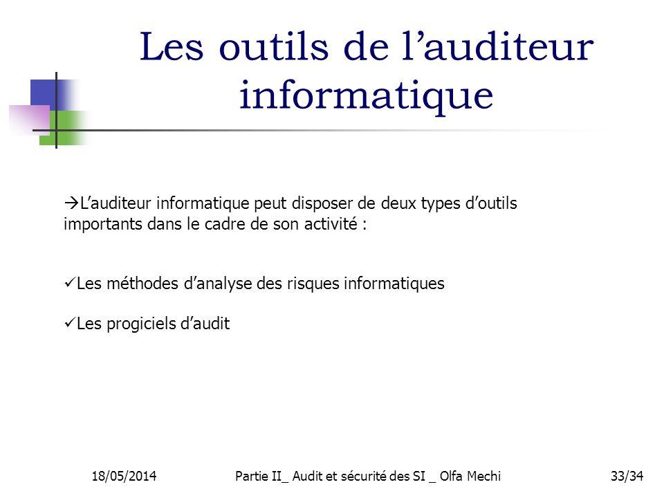 18/05/2014Partie II_ Audit et sécurité des SI _ Olfa Mechi33/34 Lauditeur informatique peut disposer de deux types doutils importants dans le cadre de