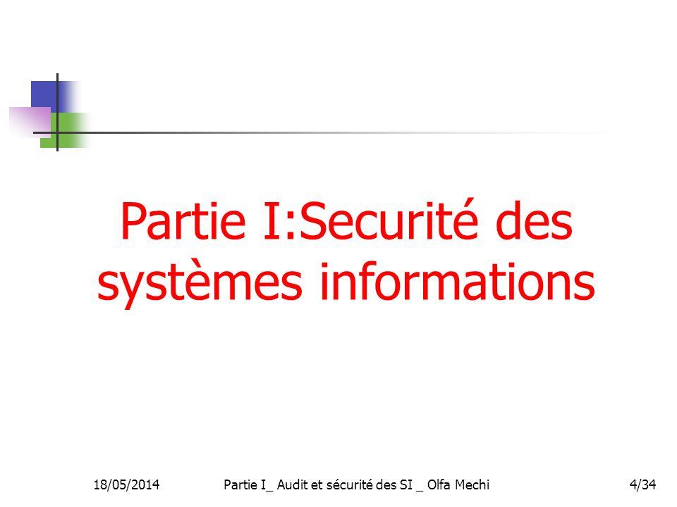 18/05/2014Partie I_ Audit et sécurité des SI _ Olfa Mechi4/34 Partie I:Securité des systèmes informations
