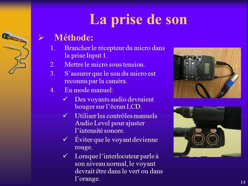 14 La prise de son Méthode: 1.Brancher le récepteur du micro dans la prise Input 1.