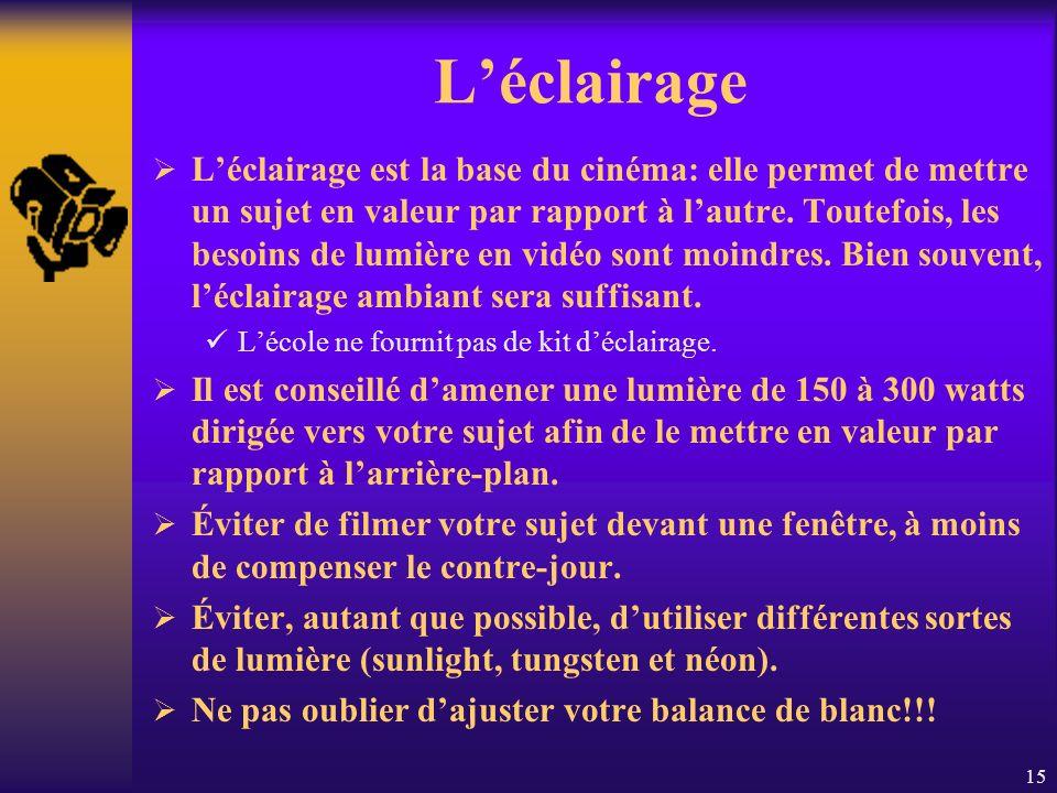 15 Léclairage Léclairage est la base du cinéma: elle permet de mettre un sujet en valeur par rapport à lautre.