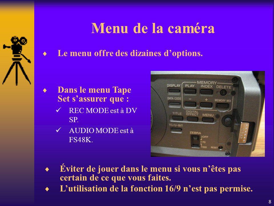 8 Menu de la caméra Le menu offre des dizaines doptions.