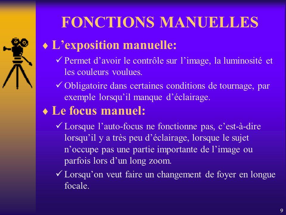 9 FONCTIONS MANUELLES Lexposition manuelle: Permet davoir le contrôle sur limage, la luminosité et les couleurs voulues.