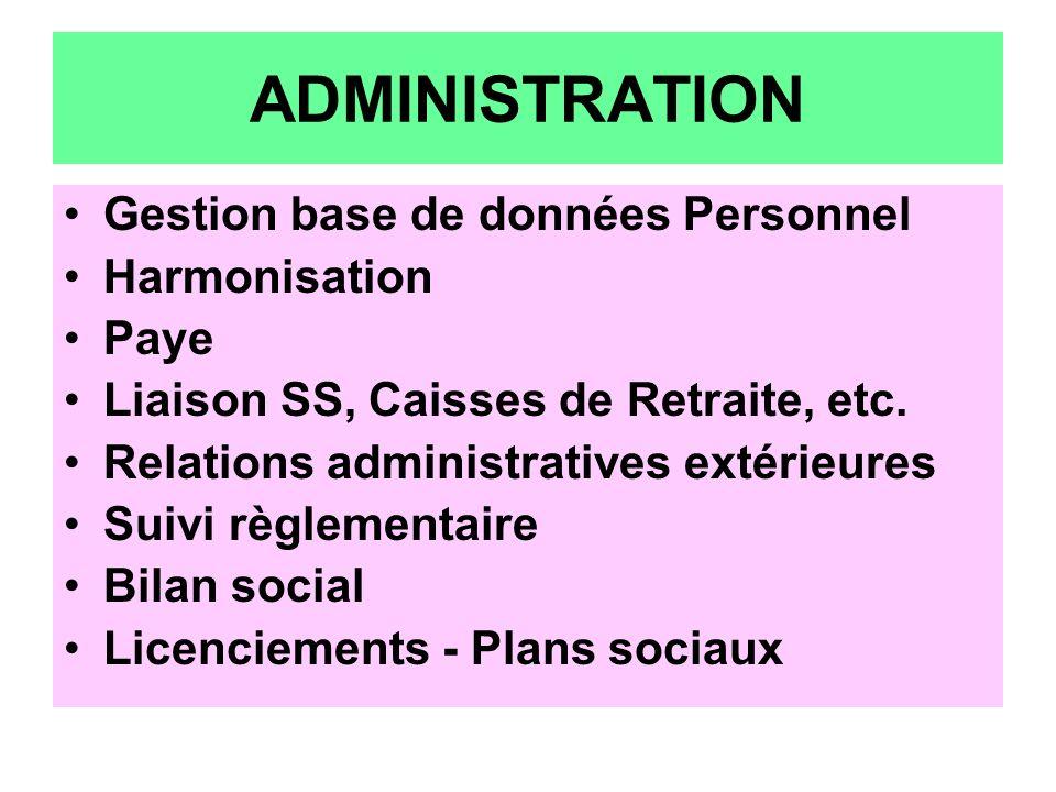 ADMINISTRATION Gestion base de données Personnel Harmonisation Paye Liaison SS, Caisses de Retraite, etc. Relations administratives extérieures Suivi