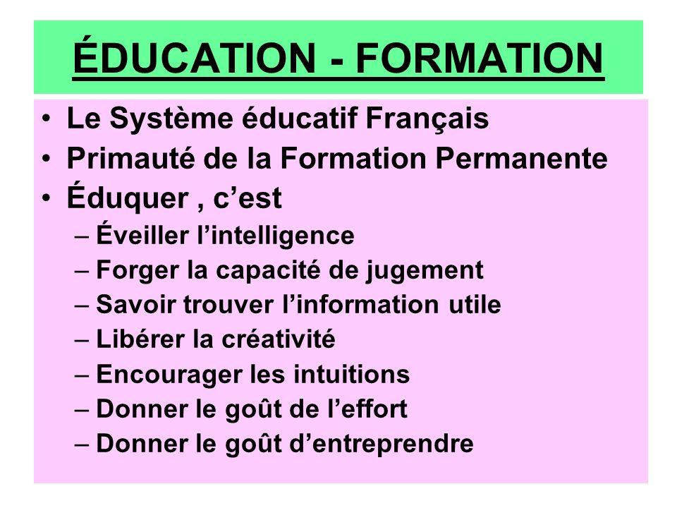 ÉDUCATION - FORMATION Le Système éducatif Français Primauté de la Formation Permanente Éduquer, cest –Éveiller lintelligence –Forger la capacité de ju