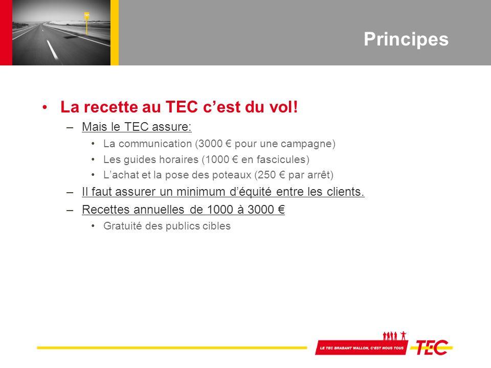 Principes La recette au TEC cest du vol.