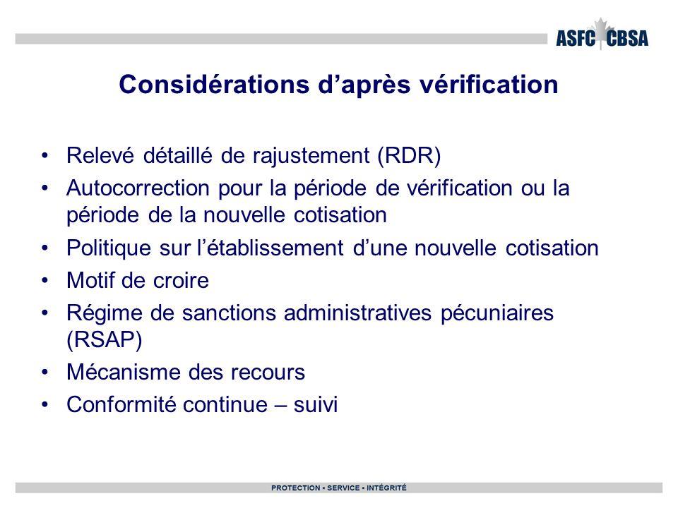 Considérations daprès vérification Relevé détaillé de rajustement (RDR) Autocorrection pour la période de vérification ou la période de la nouvelle co