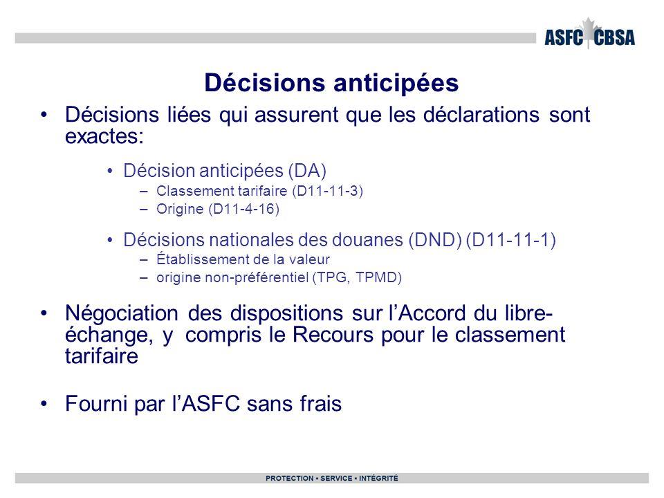Décisions liées qui assurent que les déclarations sont exactes: Décision anticipées (DA) –Classement tarifaire (D11-11-3) –Origine (D11-4-16) Décision