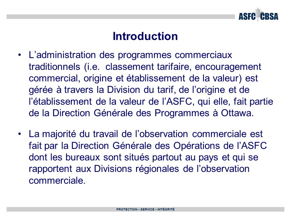 Introduction Ladministration des programmes commerciaux traditionnels (i.e.