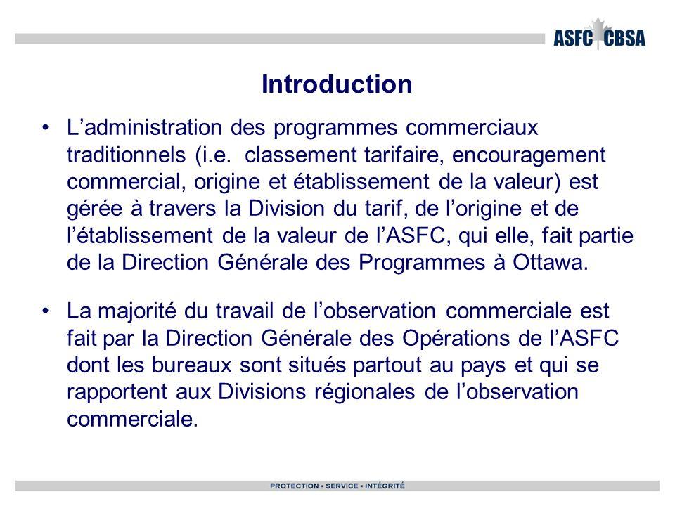 Introduction Ladministration des programmes commerciaux traditionnels (i.e. classement tarifaire, encouragement commercial, origine et établissement d