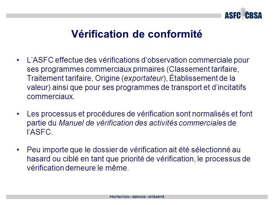 LASFC effectue des vérifications dobservation commerciale pour ses programmes commerciaux primaires (Classement tarifaire, Traitement tarifaire, Origi