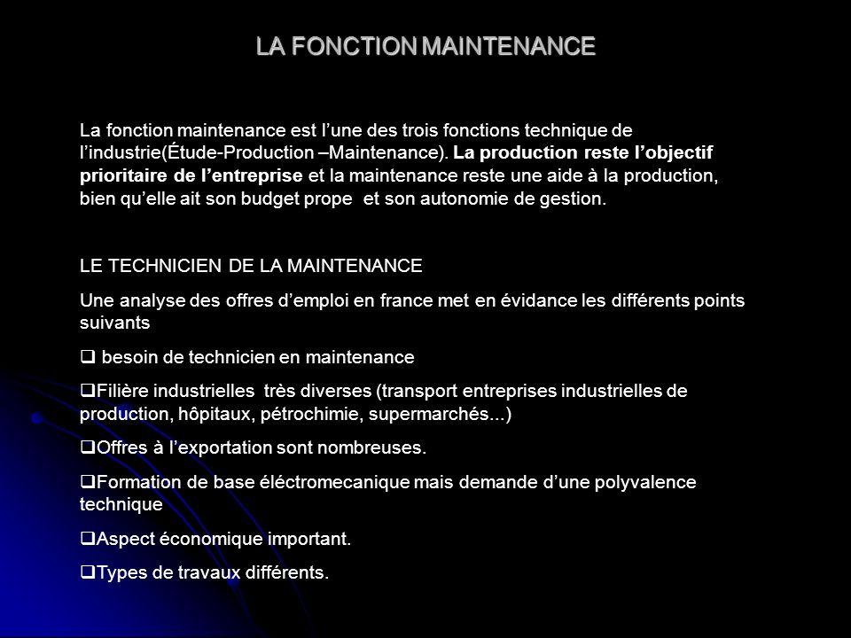 LA FONCTION MAINTENANCE La fonction maintenance est lune des trois fonctions technique de lindustrie(Étude-Production –Maintenance).