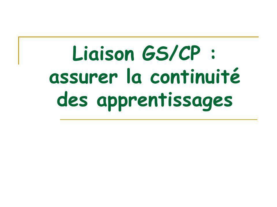 Liaison GS/CP : assurer la continuité des apprentissages