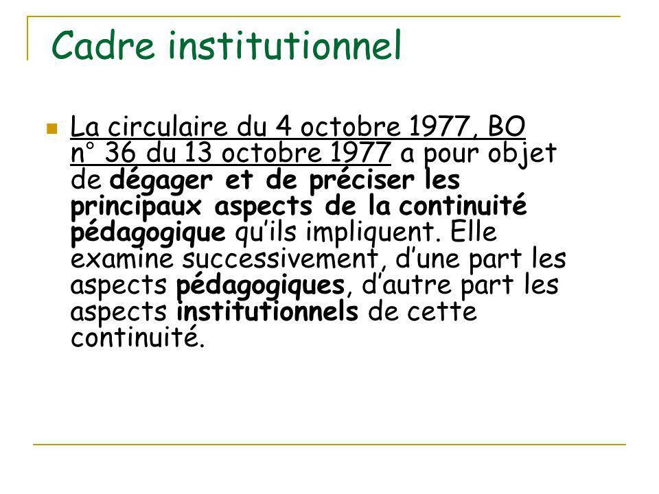 Cadre institutionnel La circulaire du 4 octobre 1977, BO n° 36 du 13 octobre 1977 a pour objet de dégager et de préciser les principaux aspects de la continuité pédagogique quils impliquent.