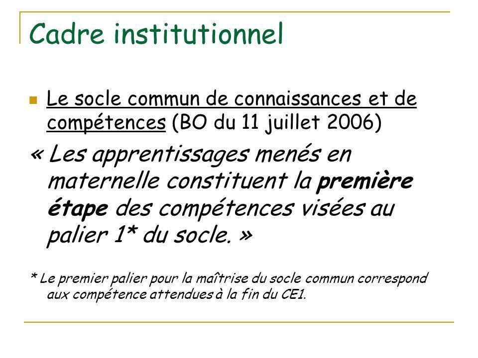 Cadre institutionnel Le socle commun de connaissances et de compétences (BO du 11 juillet 2006) « Les apprentissages menés en maternelle constituent la première étape des compétences visées au palier 1* du socle.