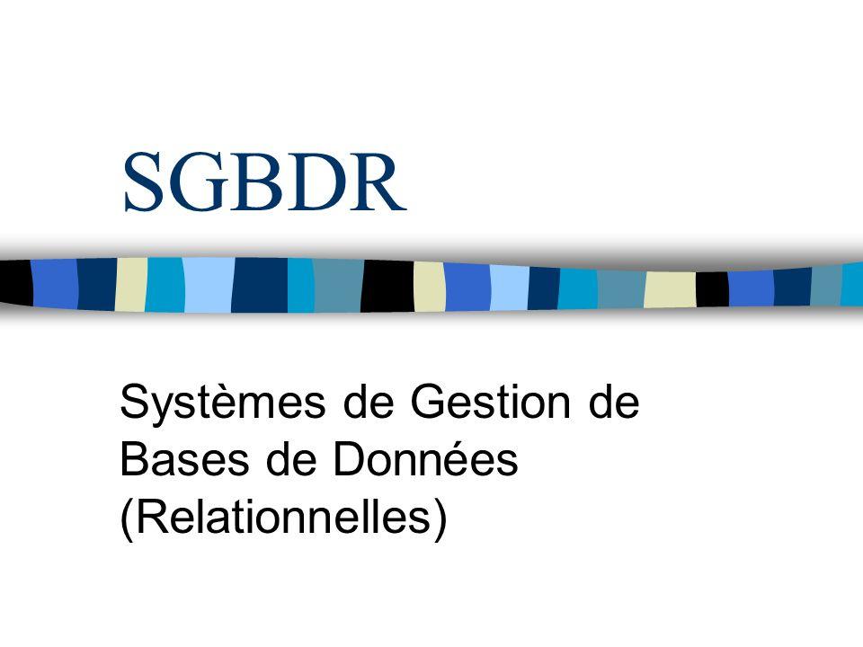 SGBDR Systèmes de Gestion de Bases de Données (Relationnelles)