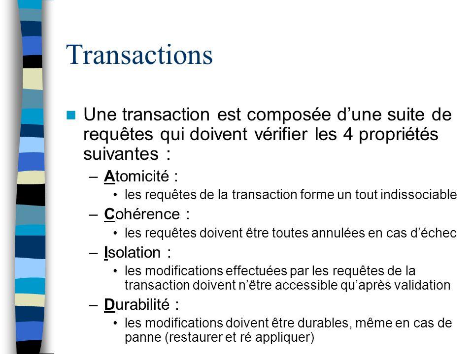 Transactions Une transaction est composée dune suite de requêtes qui doivent vérifier les 4 propriétés suivantes : –Atomicité : les requêtes de la tra